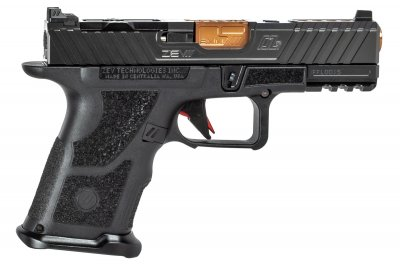 Zev Technologies OZ9C Hyper-Comp Pistol, Compact Black Slide, Bronze Barrel